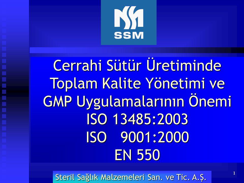 1 Cerrahi Sütür Üretiminde Toplam Kalite Yönetimi ve GMP Uygulamalarının Önemi ISO 13485:2003 ISO 9001:2000 EN 550 Steril Sağlık Malzemeleri San. ve T