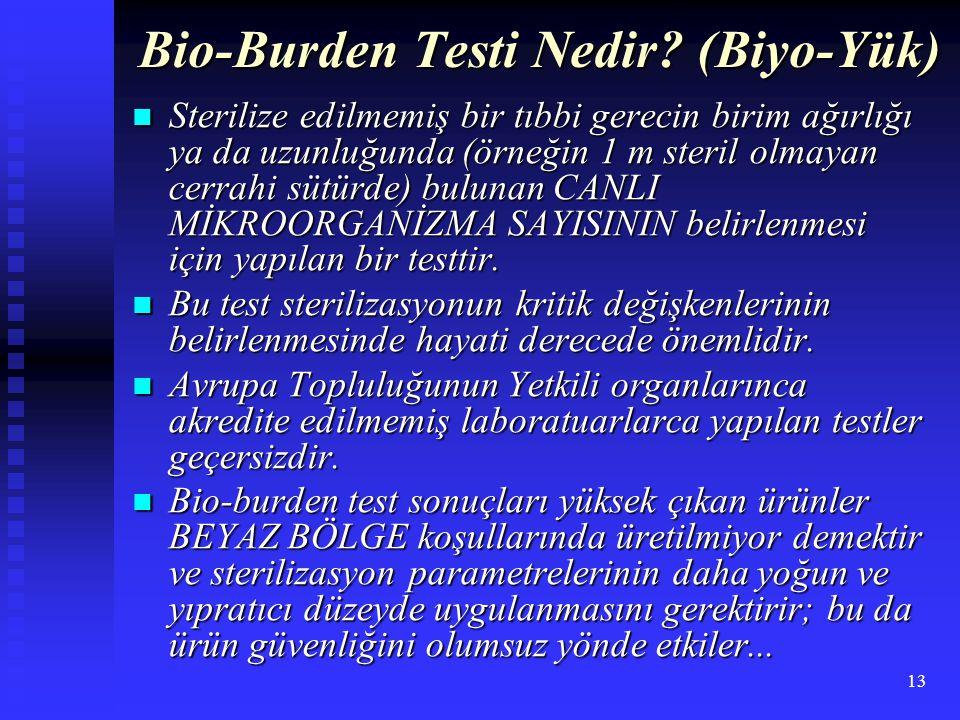 13 Bio-Burden Testi Nedir? (Biyo-Yük) Sterilize edilmemiş bir tıbbi gerecin birim ağırlığı ya da uzunluğunda (örneğin 1 m steril olmayan cerrahi sütür