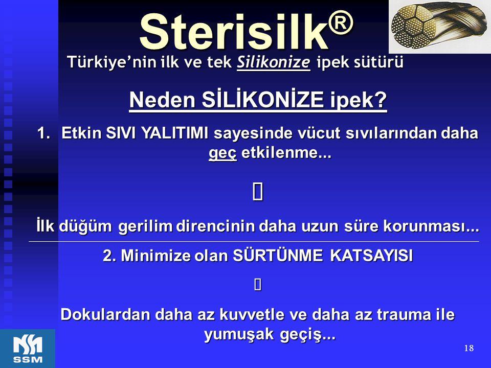 18 Sterisilk ® Türkiye'nin ilk ve tek Silikonize ipek sütürü Neden SİLİKONİZE ipek?  Etkin SIVI YALITIMI sayesinde vücut sıvılarından daha geç etkil