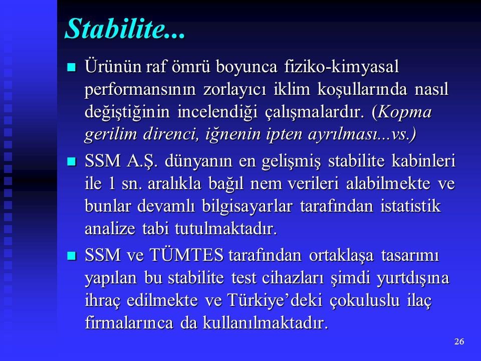 26 Stabilite... Ürünün raf ömrü boyunca fiziko-kimyasal performansının zorlayıcı iklim koşullarında nasıl değiştiğinin incelendiği çalışmalardır. (Kop
