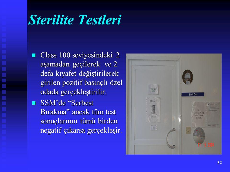32 Sterilite Testleri Class 100 seviyesindeki 2 aşamadan geçilerek ve 2 defa kıyafet değiştirilerek girilen pozitif basınçlı özel odada gerçekleştirilir.