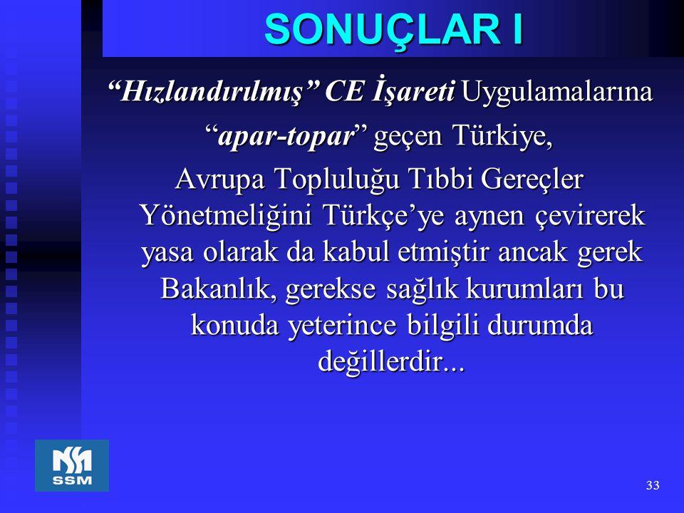 """33 SONUÇLAR I """"Hızlandırılmış"""" CE İşareti Uygulamalarına """"apar-topar"""" geçen Türkiye, Avrupa Topluluğu Tıbbi Gereçler Yönetmeliğini Türkçe'ye aynen çev"""