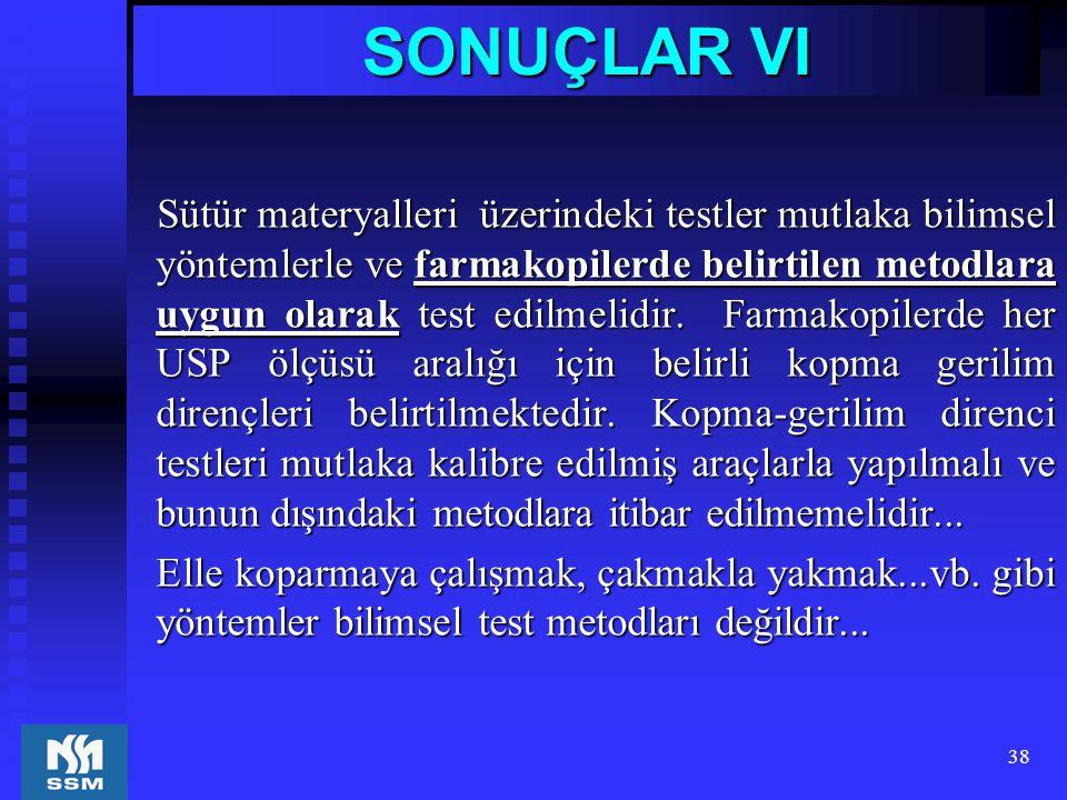 38 SONUÇLAR VI Sütür materyalleri üzerindeki testler mutlaka bilimsel yöntemlerle ve farmakopilerde belirtilen metodlara uygun olarak test edilmelidir
