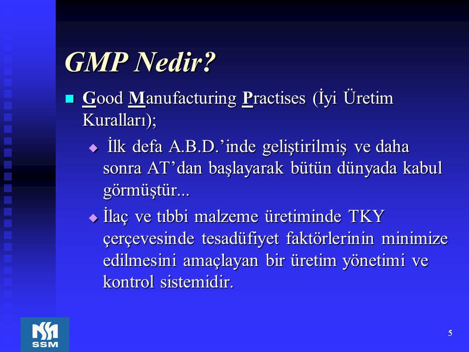 5 GMP Nedir? Good Manufacturing Practises (İyi Üretim Kuralları); Good Manufacturing Practises (İyi Üretim Kuralları);  İlk defa A.B.D.'inde geliştir