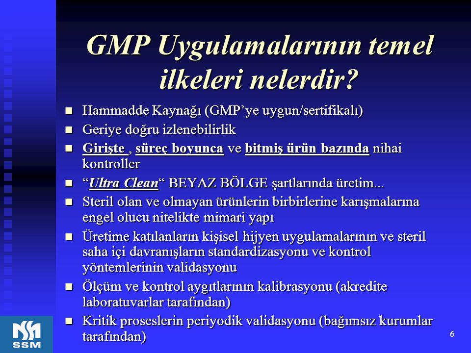 6 GMP Uygulamalarının temel ilkeleri nelerdir? Hammadde Kaynağı (GMP'ye uygun/sertifikalı) Hammadde Kaynağı (GMP'ye uygun/sertifikalı) Geriye doğru iz