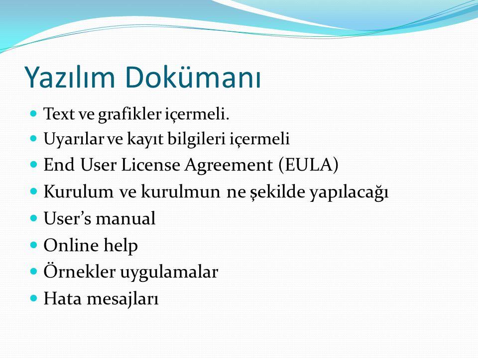 Yazılım Dokümanı Text ve grafikler içermeli. Uyarılar ve kayıt bilgileri içermeli End User License Agreement (EULA) Kurulum ve kurulmun ne şekilde yap
