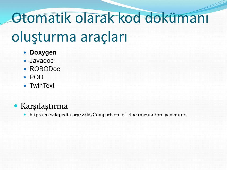 Otomatik olarak kod dokümanı oluşturma araçları Doxygen Javadoc ROBODoc POD TwinText Karşılaştırma http://en.wikipedia.org/wiki/Comparison_of_document