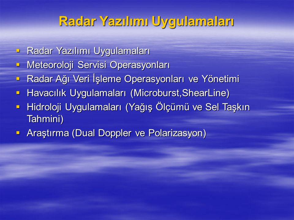 Radar Yazılımı Uygulamaları  Radar Yazılımı Uygulamaları  Meteoroloji Servisi Operasyonları  Radar Ağı Veri İşleme Operasyonları ve Yönetimi  Hava