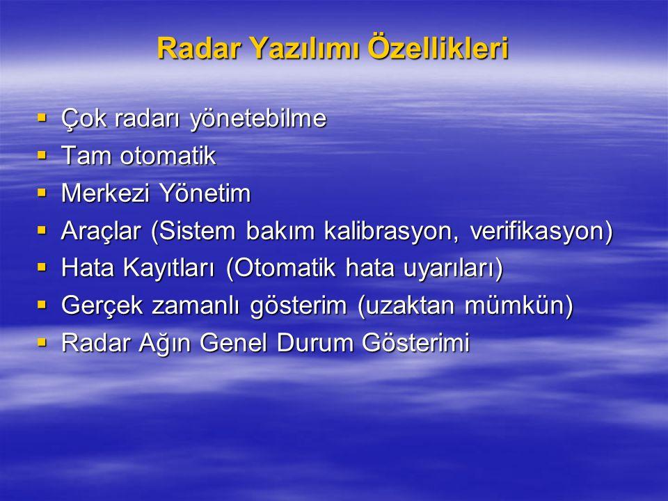 Radar Yazılımı Özellikleri  Çok radarı yönetebilme  Tam otomatik  Merkezi Yönetim  Araçlar (Sistem bakım kalibrasyon, verifikasyon)  Hata Kayıtla