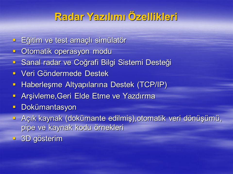 Radar Yazılımı Özellikleri  Eğitim ve test amaçlı simülatör  Otomatik operasyon modu  Sanal radar ve Coğrafi Bilgi Sistemi Desteği  Veri Göndermed