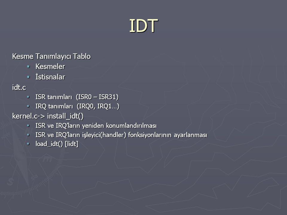 IDT Kesme Tanımlayıcı Tablo  Kesmeler  İstisnalar idt.c  ISR tanımları (ISR0 – ISR31)  IRQ tanımları (IRQ0, IRQ1…) kernel.c-> install_idt()  ISR ve IRQ'ların yeniden konumlandırılması  ISR ve IRQ'ların işleyici(handler) fonksiyonlarının ayarlanması  load_idt() [lidt]