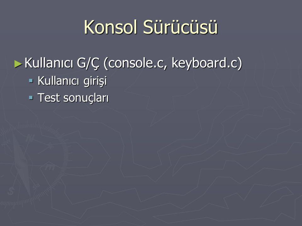 Konsol Sürücüsü ► Kullanıcı G/Ç (console.c, keyboard.c)  Kullanıcı girişi  Test sonuçları