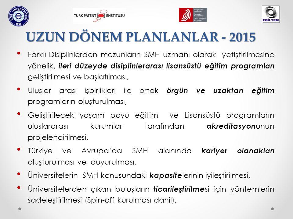 Farklı Disiplinlerden mezunların SMH uzmanı olarak yetiştirilmesine yönelik, ileri düzeyde disiplinlerarası lisansüstü eğitim programları geliştirilmesi ve başlatılması, Uluslar arası işbirlikleri ile ortak örgün ve uzaktan eğitim programların oluşturulması, Geliştirilecek yaşam boyu eğitim ve Lisansüstü programların uluslararası kurumlar tarafından akreditasyon unun projelendirilmesi, Türkiye ve Avrupa'da SMH alanında kariyer olanakları oluşturulması ve duyurulması, Üniversitelerin SMH konusundaki kapasite lerinin iyileştirilmesi, Üniversitelerden çıkan buluşların ticarileştirilme si için yöntemlerin sadeleştirilmesi (Spin-off kurulması dahil), UZUN DÖNEM PLANLANLAR - 2015