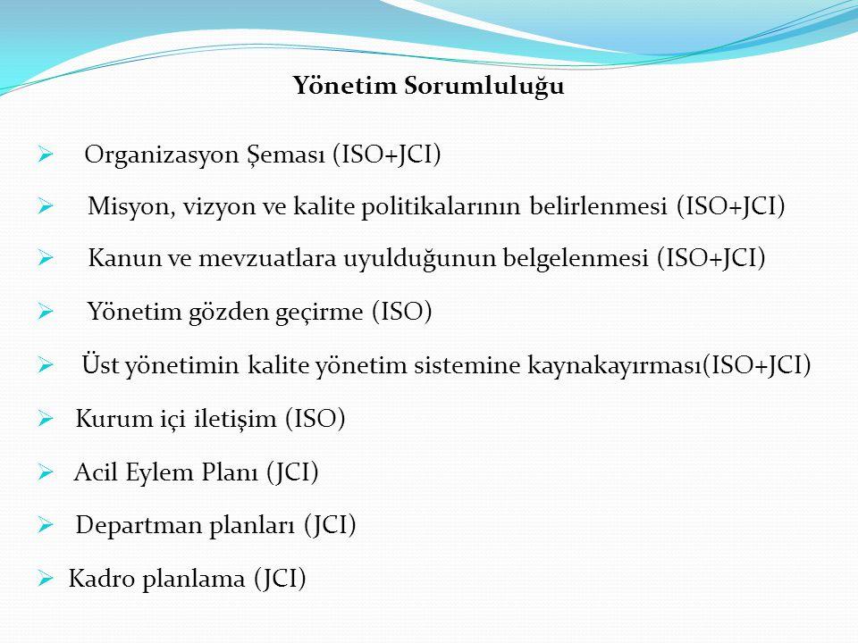 Yönetim Sorumluluğu  Organizasyon Şeması (ISO+JCI)  Misyon, vizyon ve kalite politikalarının belirlenmesi (ISO+JCI)  Kanun ve mevzuatlara uyulduğunun belgelenmesi (ISO+JCI)  Yönetim gözden geçirme (ISO)  Üst yönetimin kalite yönetim sistemine kaynakayırması(ISO+JCI)  Kurum içi iletişim (ISO)  Acil Eylem Planı (JCI)  Departman planları (JCI)  Kadro planlama (JCI)