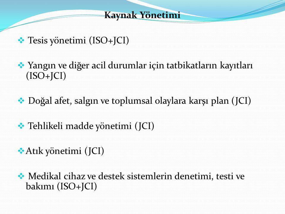 Kaynak Yönetimi  Tesis yönetimi (ISO+JCI)  Yangın ve diğer acil durumlar için tatbikatların kayıtları (ISO+JCI)  Doğal afet, salgın ve toplumsal olaylara karşı plan (JCI)  Tehlikeli madde yönetimi (JCI)  Atık yönetimi (JCI)  Medikal cihaz ve destek sistemlerin denetimi, testi ve bakımı (ISO+JCI)