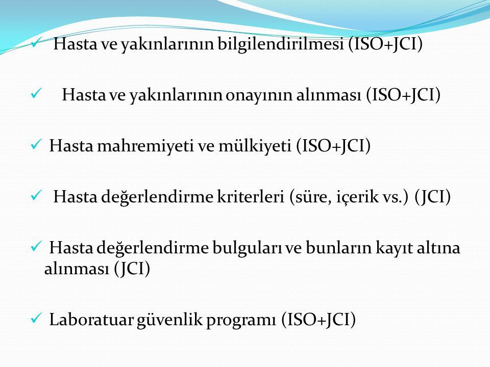 Hasta ve yakınlarının bilgilendirilmesi (ISO+JCI) Hasta ve yakınlarının onayının alınması (ISO+JCI) Hasta mahremiyeti ve mülkiyeti (ISO+JCI) Hasta değerlendirme kriterleri (süre, içerik vs.) (JCI) Hasta değerlendirme bulguları ve bunların kayıt altına alınması (JCI) Laboratuar güvenlik programı (ISO+JCI)