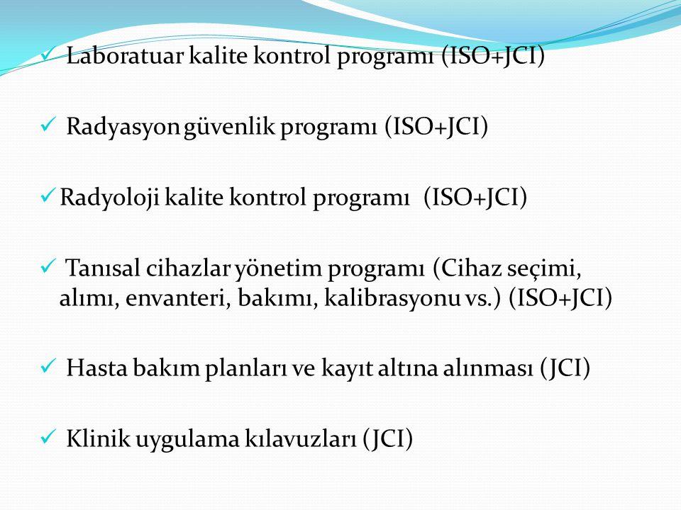 Laboratuar kalite kontrol programı (ISO+JCI) Radyasyon güvenlik programı (ISO+JCI) Radyoloji kalite kontrol programı (ISO+JCI) Tanısal cihazlar yönetim programı (Cihaz seçimi, alımı, envanteri, bakımı, kalibrasyonu vs.) (ISO+JCI) Hasta bakım planları ve kayıt altına alınması (JCI) Klinik uygulama kılavuzları (JCI)
