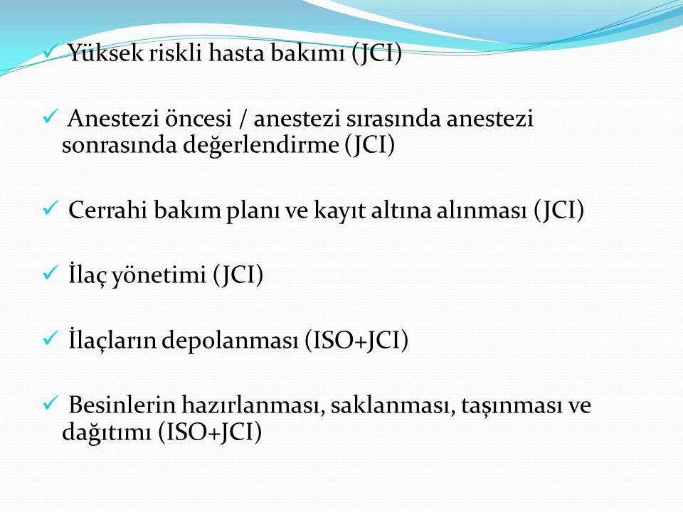 Yüksek riskli hasta bakımı (JCI) Anestezi öncesi / anestezi sırasında anestezi sonrasında değerlendirme (JCI) Cerrahi bakım planı ve kayıt altına alınması (JCI) İlaç yönetimi (JCI) İlaçların depolanması (ISO+JCI) Besinlerin hazırlanması, saklanması, taşınması ve dağıtımı (ISO+JCI)