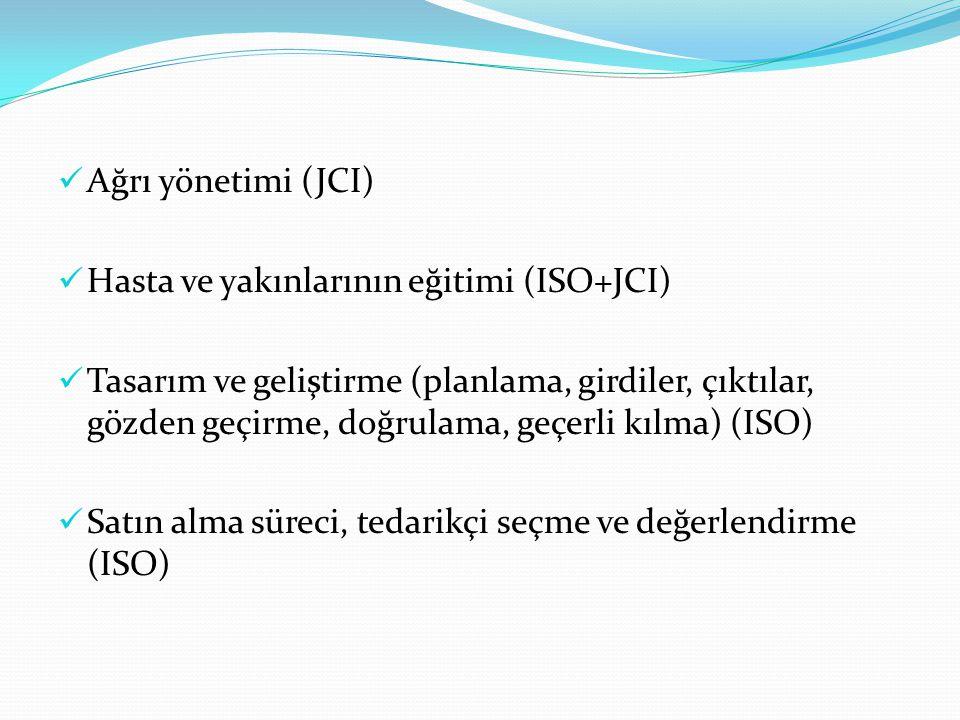 Ağrı yönetimi (JCI) Hasta ve yakınlarının eğitimi (ISO+JCI) Tasarım ve geliştirme (planlama, girdiler, çıktılar, gözden geçirme, doğrulama, geçerli kılma) (ISO) Satın alma süreci, tedarikçi seçme ve değerlendirme (ISO)