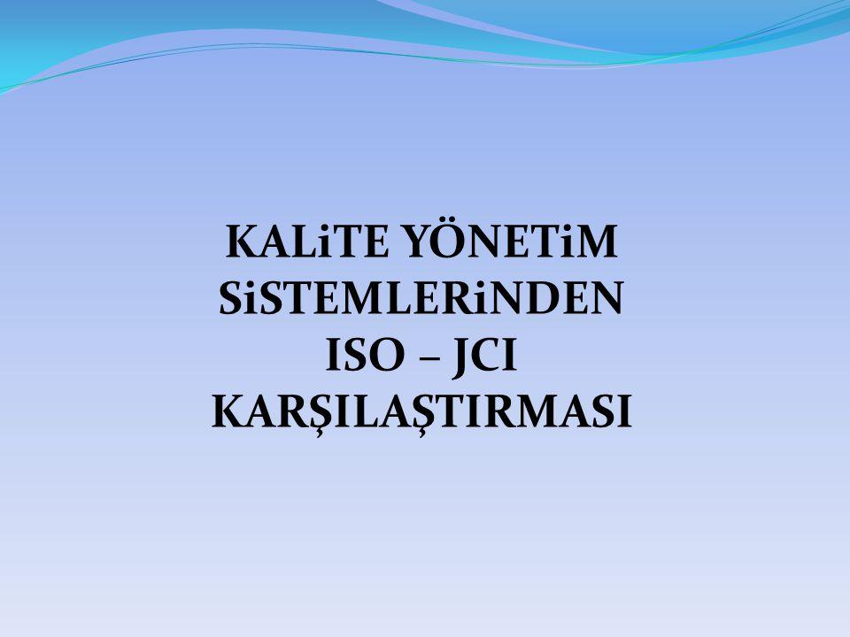 Kaynak Yönetimi  Personel görev, yetki ve sorumluluklarının tanımlanması (ISO+JCI)  Standart personel dosyası (ISO+JCI)  Kadro planlama (JCI)  Eğitim kayıtları (ISO+JCI)  CPR eğitimi (JCI)  Tıbbi kadrolarda yetkilendirme (JCI)  Performans değerlendirme (JCI)