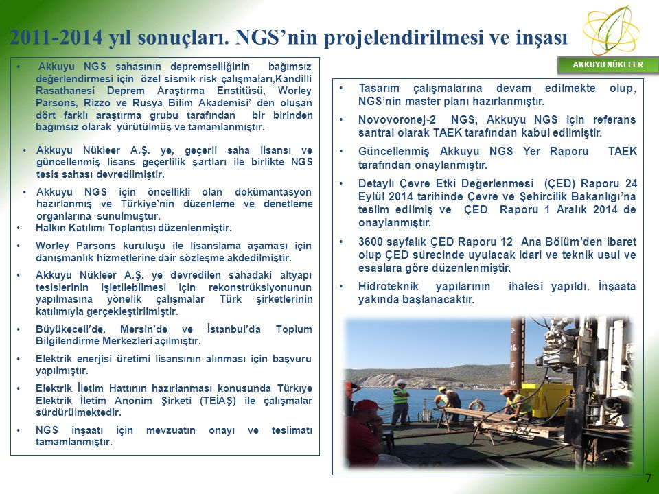 AKKUYU NÜKLEER 7 Akkuyu NGS sahasının depremselliğinin bağımsız değerlendirmesi için özel sismik risk çalışmaları,Kandilli Rasathanesi Deprem Araştırm