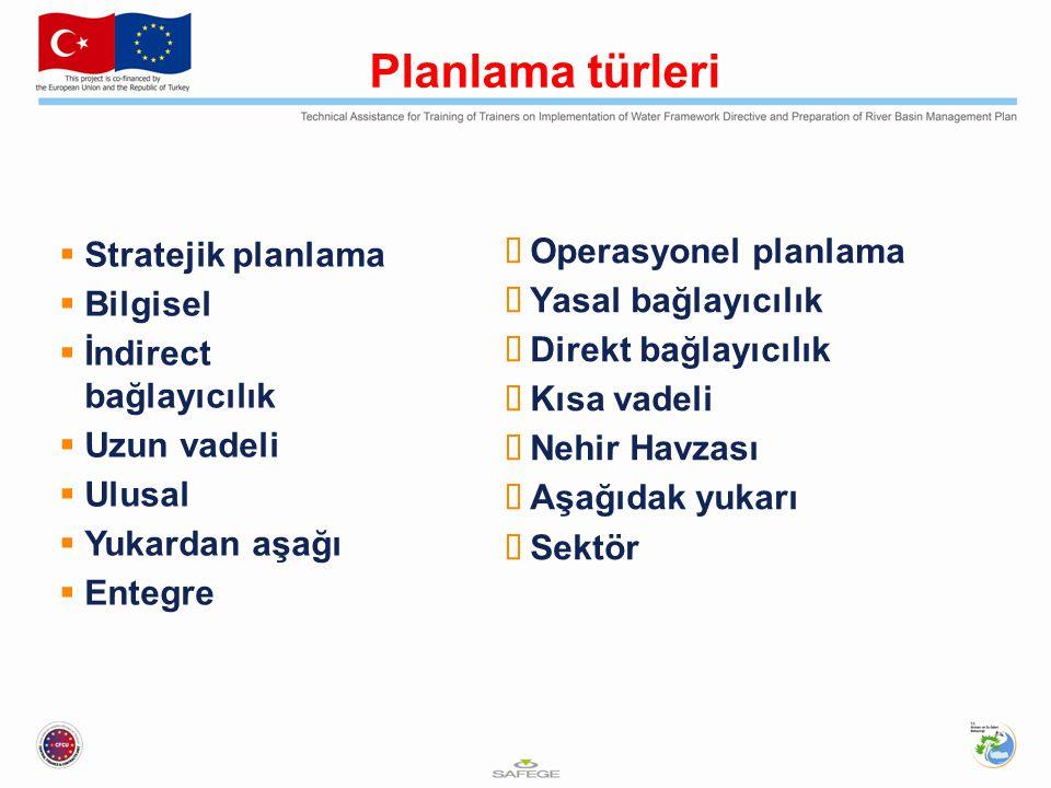 Planın fonksiyonu  Temel envanter ve dokümantasyon mekanızmaları  Çevresel hedefler  Kalite ve miktar hakkında bilgi  Su durumu ve insan etki ve baskılarıyla ilgili bilgi  Meşruiyet ve halkın katılımı  Önlemler Programının Koordinasyonu  Farklı plan seviyelerinin kooordinasyonu  Diğer doğal kaynak yönetimleri ile koordinasyon  Nehir Havzası Bölgeleri ile ilgili Avrupa Komisyonuna Raporlama  İlk plan için zamanlama: 6 yıl