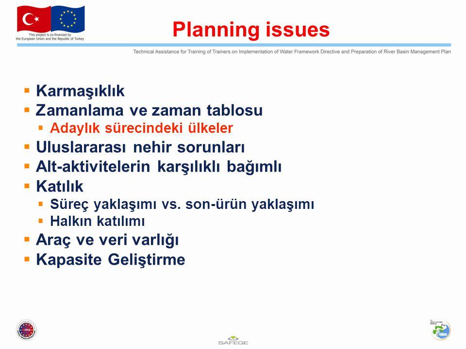 Planning issues  Karmaşıklık  Zamanlama ve zaman tablosu  Adaylık sürecindeki ülkeler  Uluslararası nehir sorunları  Alt-aktivitelerin karşılıklı