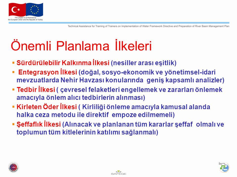 Önemli Planlama İlkeleri  Sürdürülebilir Kalkınma İlkesi (nesiller arası eşitlik)  Entegrasyon İlkesi (doğal, sosyo-ekonomik ve yönetimsel-idari mev