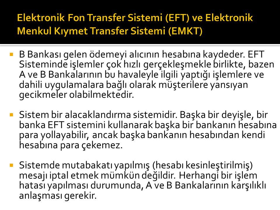  B Bankası gelen ödemeyi alıcının hesabına kaydeder. EFT Sisteminde işlemler çok hızlı gerçekleşmekle birlikte, bazen A ve B Bankalarının bu havale