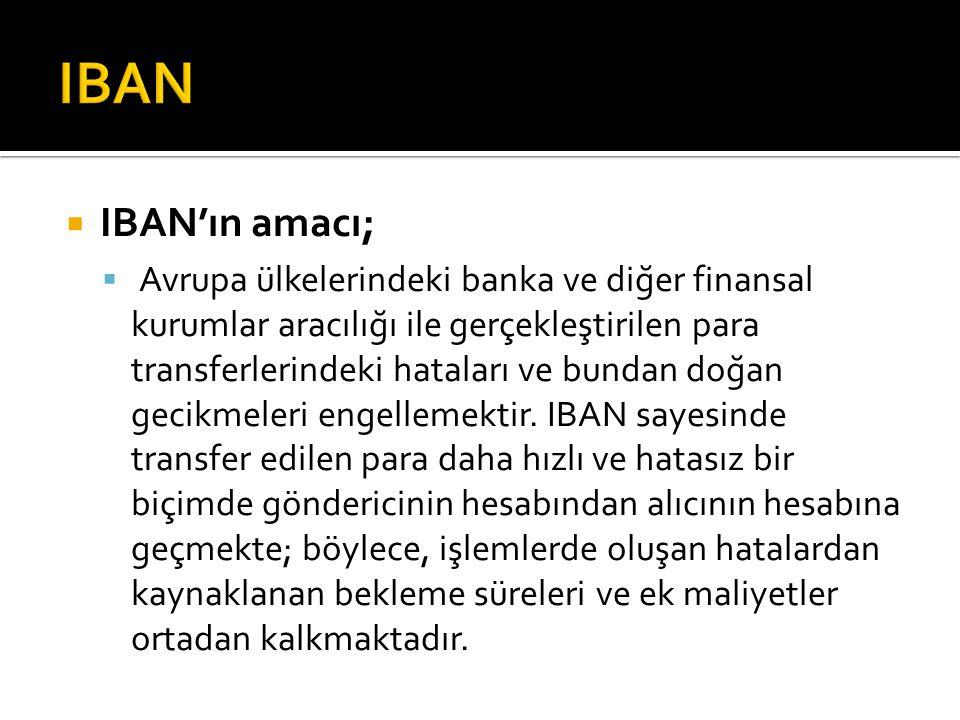  IBAN'ın amacı;  Avrupa ülkelerindeki banka ve diğer finansal kurumlar aracılığı ile gerçekleştirilen para transferlerindeki hataları ve bundan d