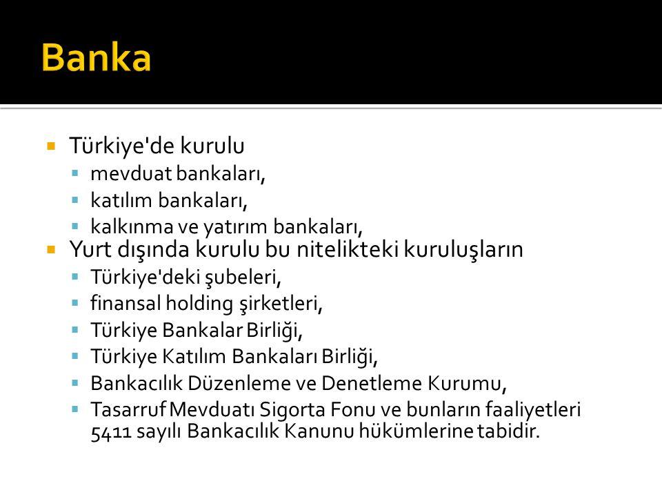  Türkiye de kurulu  mevduat bankaları,  katılım bankaları,  kalkınma ve yatırım bankaları,  Yurt dışında kurulu bu nitelikteki kuruluşların  Türkiye deki şubeleri,  finansal holding şirketleri,  Türkiye Bankalar Birliği,  Türkiye Katılım Bankaları Birliği,  Bankacılık Düzenleme ve Denetleme Kurumu,  Tasarruf Mevduatı Sigorta Fonu ve bunların faaliyetleri 5411 sayılı Bankacılık Kanunu hükümlerine tabidir.