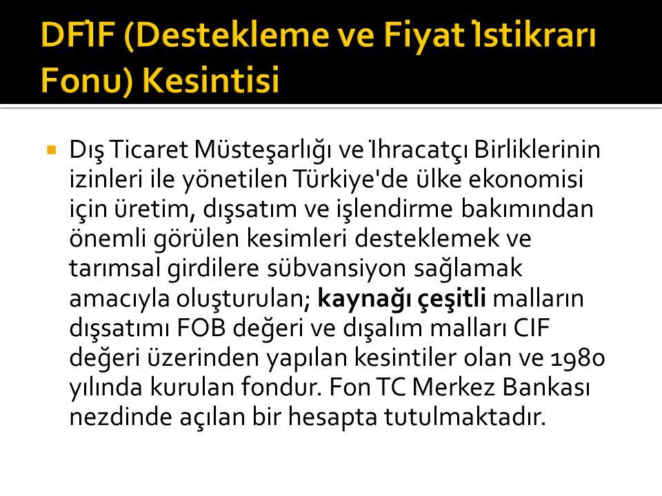  Dış Ticaret Müsteşarlığı ve İhracatçı Birliklerinin izinleri ile yönetilen Türkiye de ülke ekonomisi için üretim, dışsatım ve işlendirme bakımından önemli görülen kesimleri desteklemek ve tarımsal girdilere sübvansiyon sağlamak amacıyla oluşturulan; kaynağı çeşitli malların dışsatımı FOB değeri ve dışalım malları CIF değeri üzerinden yapılan kesintiler olan ve 1980 yılında kurulan fondur.