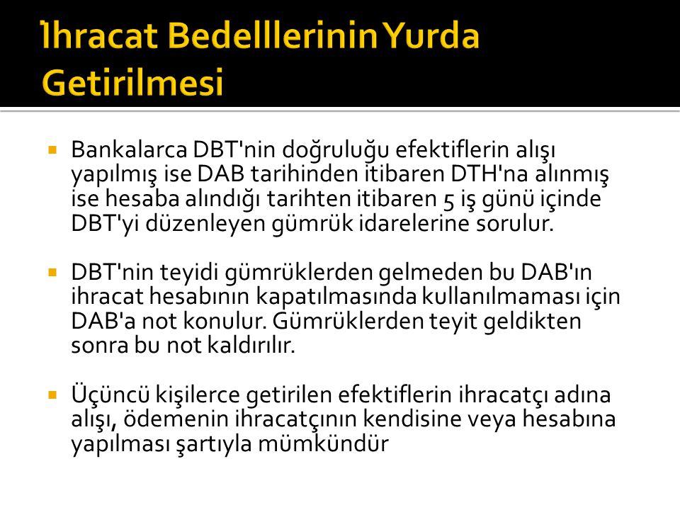  Bankalarca DBT nin doğruluğu efektiflerin alışı yapılmış ise DAB tarihinden itibaren DTH na alınmış ise hesaba alındığı tarihten itibaren 5 iş günü içinde DBT yi düzenleyen gümrük idarelerine sorulur.
