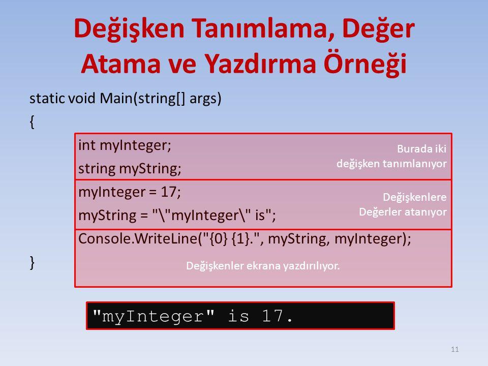 Değişken Tanımlama, Değer Atama ve Yazdırma Örneği static void Main(string[] args) { int myInteger; string myString; myInteger = 17; myString = \ myInteger\ is ; Console.WriteLine( {0} {1}. , myString, myInteger); } 11 Burada iki değişken tanımlanıyor Değişkenlere Değerler atanıyor Değişkenler ekrana yazdırılıyor.