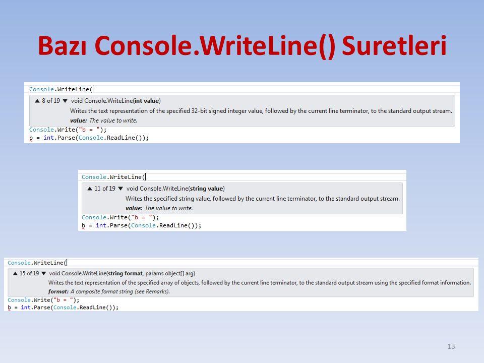 Bazı Console.WriteLine() Suretleri 13