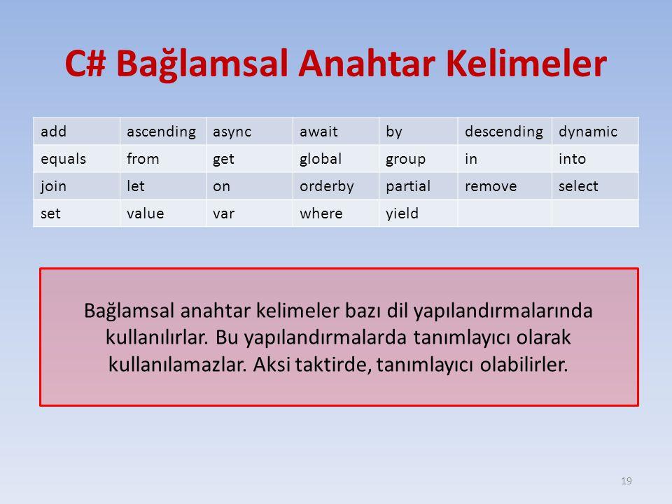 C# Bağlamsal Anahtar Kelimeler addascendingasyncawaitbydescendingdynamic equalsfromgetglobalgroupininto joinletonorderbypartialremoveselect setvaluevarwhereyield 19 Bağlamsal anahtar kelimeler bazı dil yapılandırmalarında kullanılırlar.