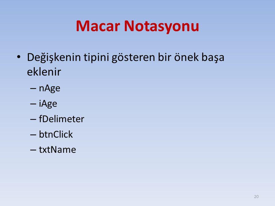 Macar Notasyonu Değişkenin tipini gösteren bir önek başa eklenir – nAge – iAge – fDelimeter – btnClick – txtName 20