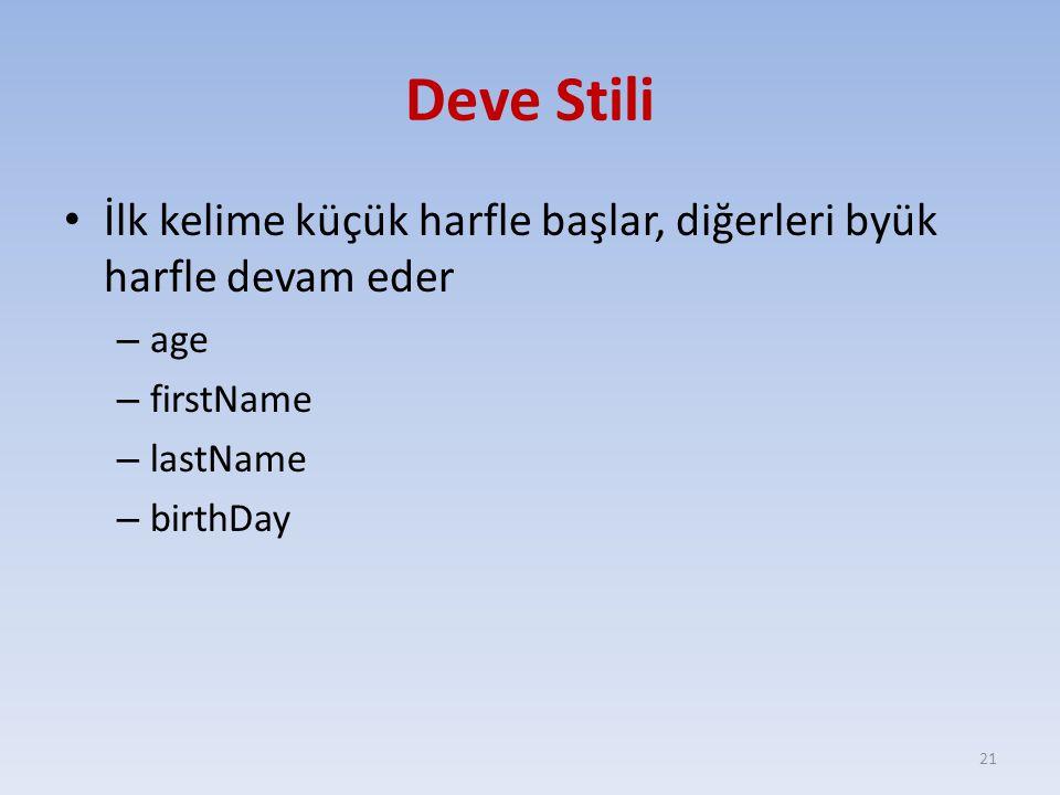 Deve Stili İlk kelime küçük harfle başlar, diğerleri byük harfle devam eder – age – firstName – lastName – birthDay 21