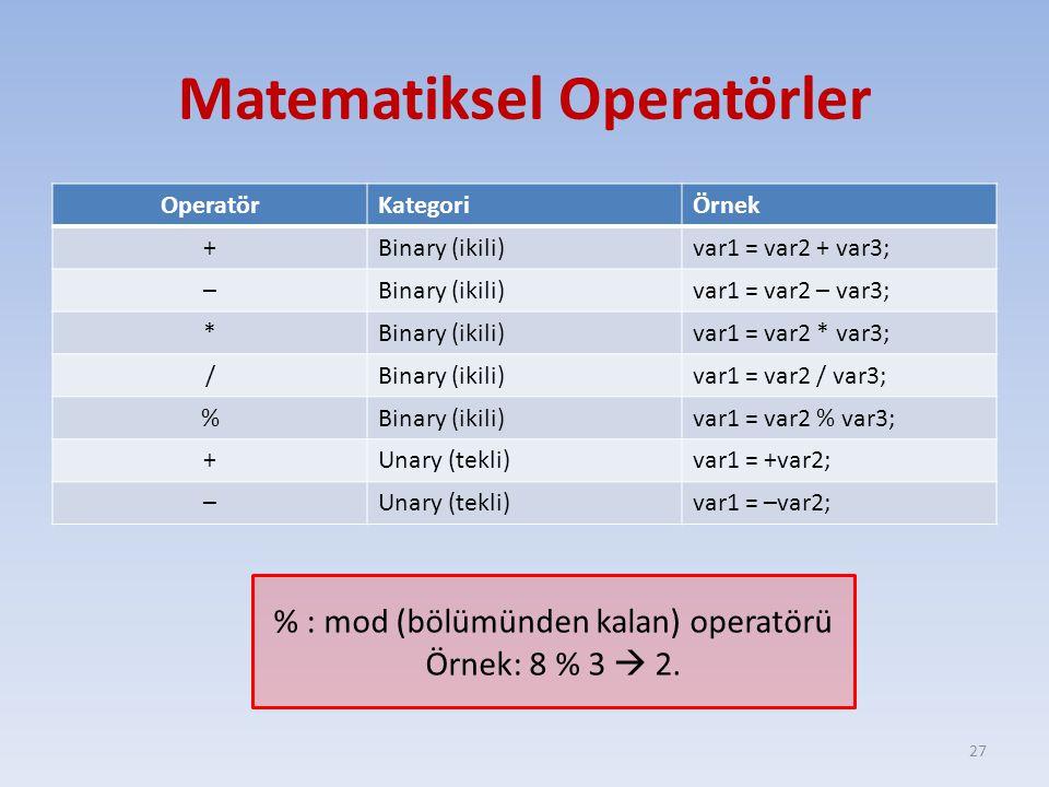 Matematiksel Operatörler OperatörKategoriÖrnek +Binary (ikili)var1 = var2 + var3; –Binary (ikili)var1 = var2 – var3; *Binary (ikili)var1 = var2 * var3; /Binary (ikili)var1 = var2 / var3; %Binary (ikili)var1 = var2 % var3; +Unary (tekli)var1 = +var2; –Unary (tekli)var1 = –var2; 27 % : mod (bölümünden kalan) operatörü Örnek: 8 % 3  2.
