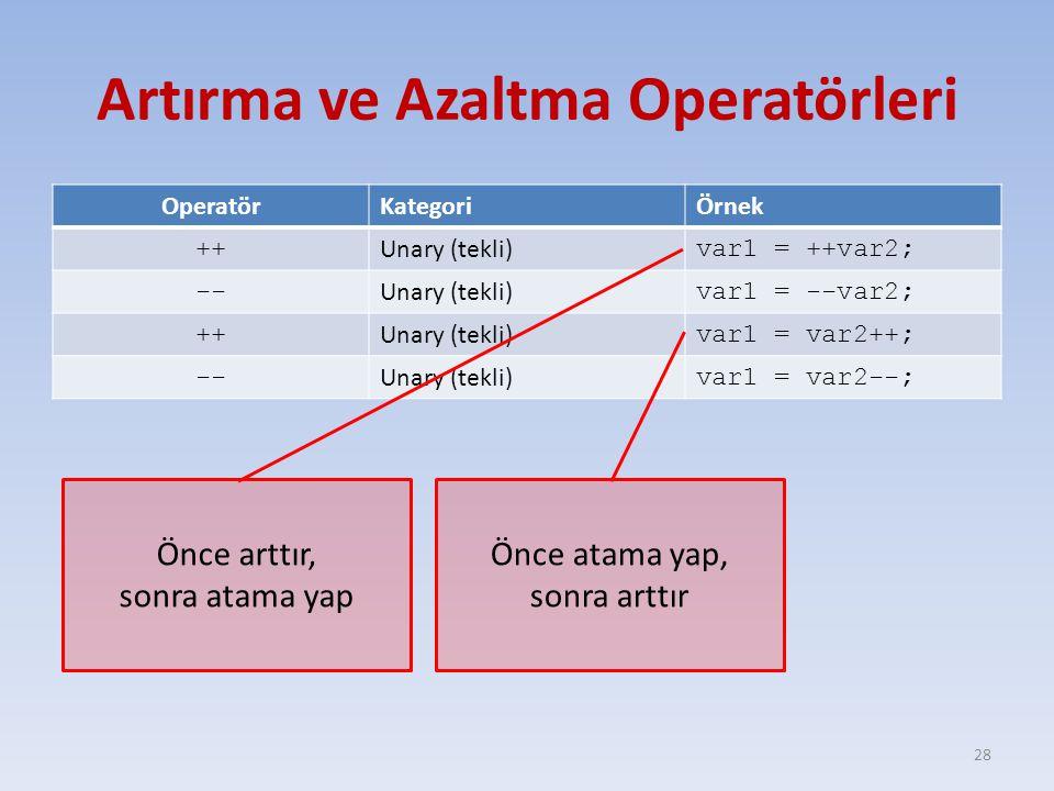 Artırma ve Azaltma Operatörleri OperatörKategoriÖrnek ++ Unary (tekli) var1 = ++var2; -- Unary (tekli) var1 = --var2; ++ Unary (tekli) var1 = var2++; -- Unary (tekli) var1 = var2--; 28 Önce arttır, sonra atama yap Önce atama yap, sonra arttır