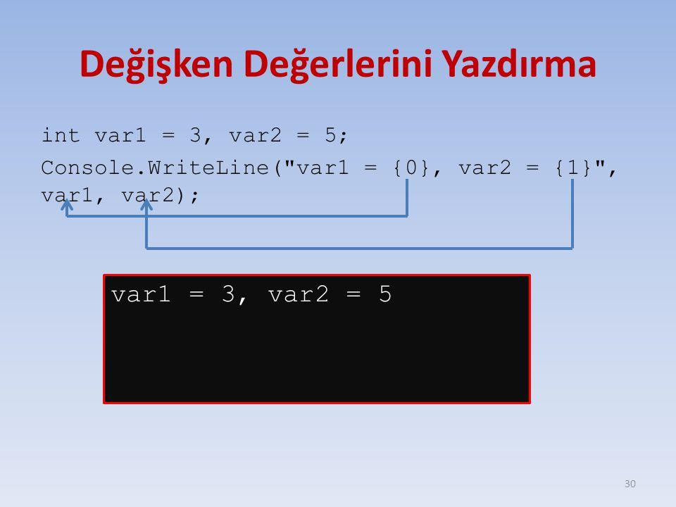 Değişken Değerlerini Yazdırma int var1 = 3, var2 = 5; Console.WriteLine( var1 = {0}, var2 = {1} , var1, var2); 30 var1 = 3, var2 = 5
