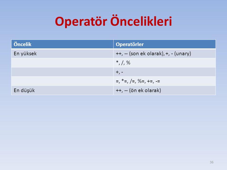 Operatör Öncelikleri ÖncelikOperatörler En yüksek++, -- (son ek olarak), +, - (unary) *, /, % +, - =, *=, /=, %=, +=, -= En düşük++, -- (ön ek olarak)