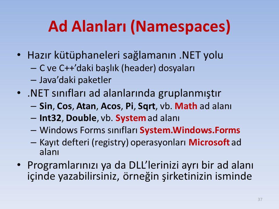 Ad Alanları (Namespaces) Hazır kütüphaneleri sağlamanın.NET yolu – C ve C++'daki başlık (header) dosyaları – Java'daki paketler.NET sınıfları ad alanlarında gruplanmıştır – Sin, Cos, Atan, Acos, Pi, Sqrt, vb.