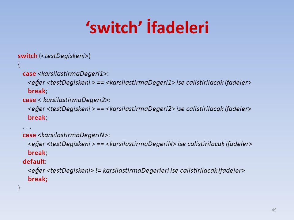 'switch' İfadeleri switch ( ) { case : == ise calistirilacak ifadeler> break; case : == ise calistirilacak ifadeler> break;...
