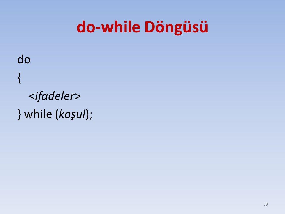 do-while Döngüsü do { } while (koşul); 58