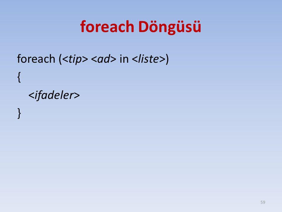 foreach Döngüsü foreach ( in ) { } 59