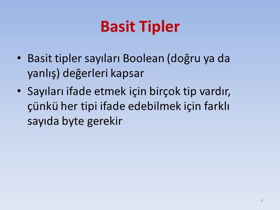 Basit Tipler Basit tipler sayıları Boolean (doğru ya da yanlış) değerleri kapsar Sayıları ifade etmek için birçok tip vardır, çünkü her tipi ifade edebilmek için farklı sayıda byte gerekir 6