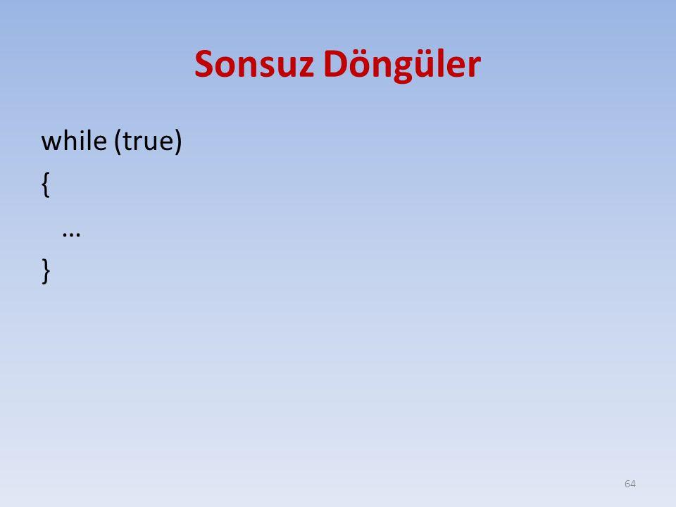 Sonsuz Döngüler while (true) { … } 64