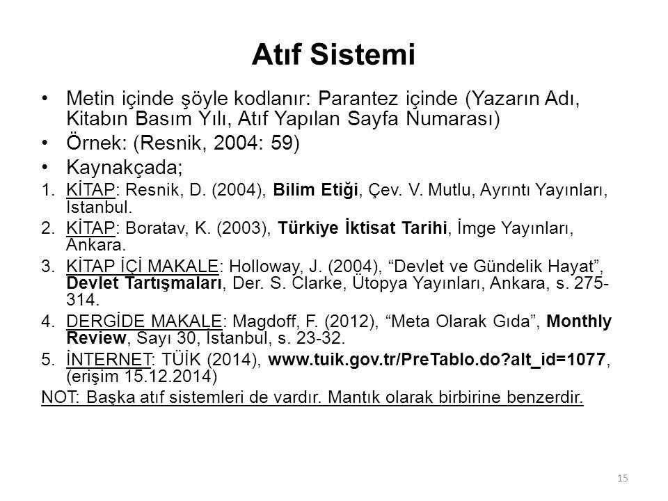 Atıf Sistemi Metin içinde şöyle kodlanır: Parantez içinde (Yazarın Adı, Kitabın Basım Yılı, Atıf Yapılan Sayfa Numarası) Örnek: (Resnik, 2004: 59) Kay