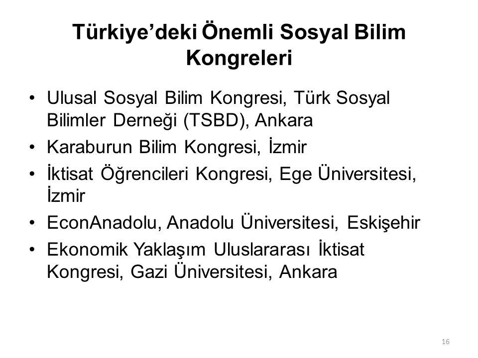 Türkiye'deki Önemli Sosyal Bilim Kongreleri Ulusal Sosyal Bilim Kongresi, Türk Sosyal Bilimler Derneği (TSBD), Ankara Karaburun Bilim Kongresi, İzmir